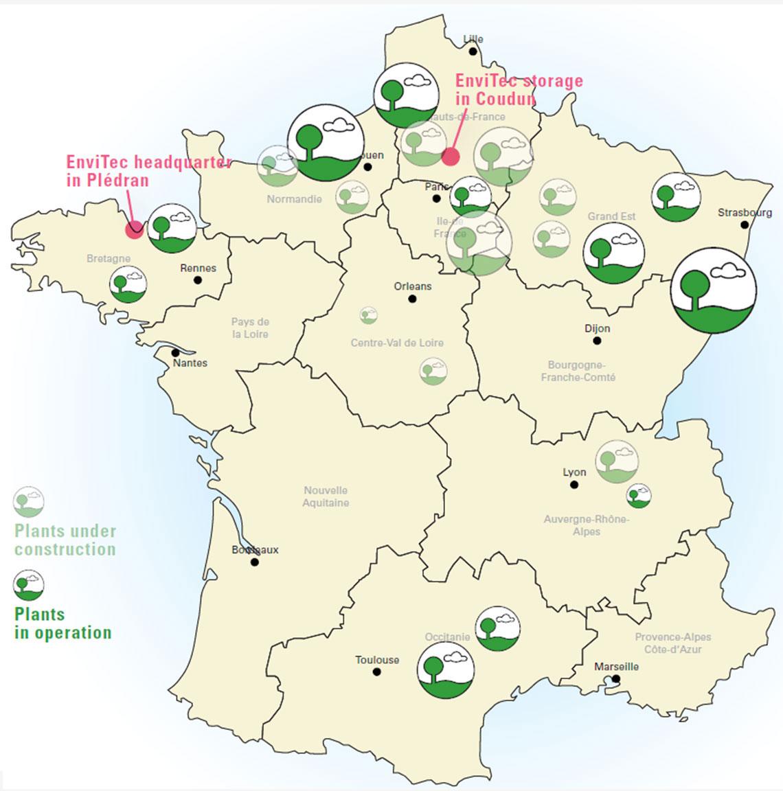 Frankreich-Landkarte mit EnviTec-Referenzen